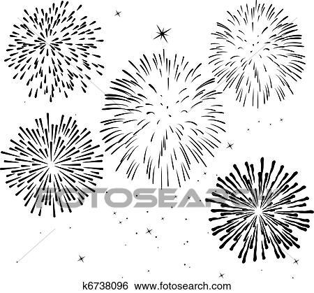 Clip Art Negro Y Blanco Fuegos Artificiales K6738096 Buscar