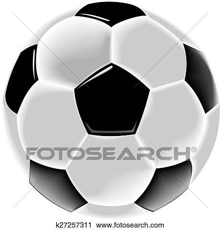 Schwarz Weiss Fussball Ball Oder Fuss Clip Art