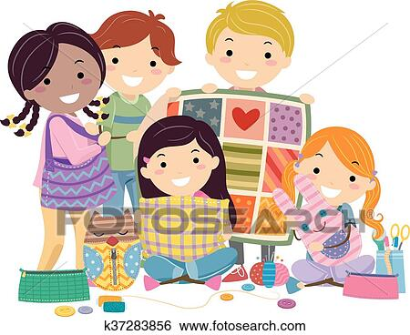Stickman Kids Sewing Crafts Clip Art K37283856 Fotosearch