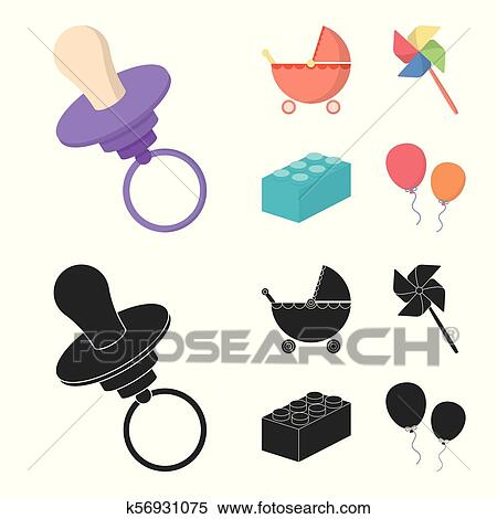Clipart Of Stroller Windmill Lego Balloonsys Set Collection