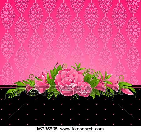 Stock illustration of vintage background with pink flower k6735505 stock illustration vintage background with pink flower fotosearch search clipart drawings mightylinksfo