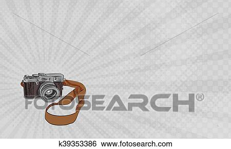 Stock illustration of vintage photography camera business card business card showing drawing sketch style illustration of a vintage camera with strap viewed from front set on isolated white background reheart Choice Image
