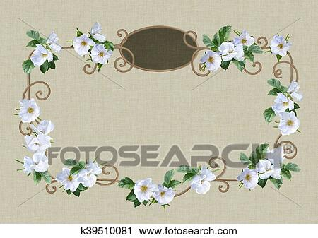 Clipart Of Watercolor Flower Frame K39510081