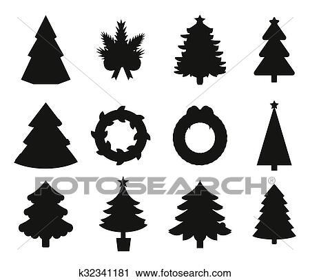 Weihnachtsbaum Schwarz.Weihnachtsbaum Schwarz Heiligenbilder Satz Clipart