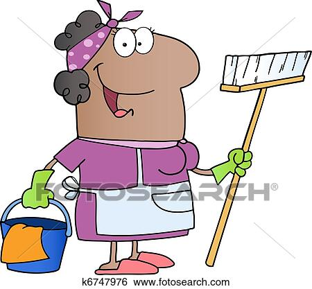 clip art of african amerikan cleaning lady k6747976 search clipart rh fotosearch com cleaning lady clip art images cleaning lady clipart black and white