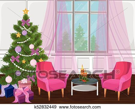 Colorful Christmas Tree Vector.Classic Livingroom Interior With Christmas Tree Vector Cartoon Style Colorful Illustration Clip Art
