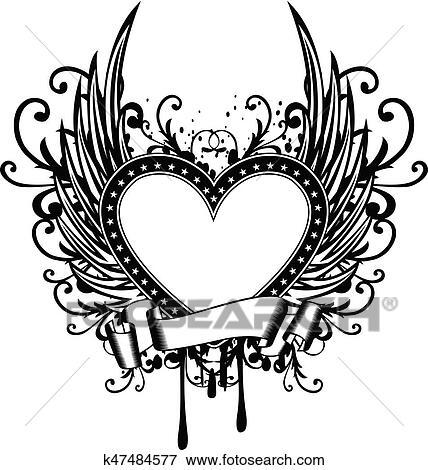 Clip Art Corazón Con Alas K47484577 Buscar Clip Art