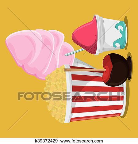 Clip Art - fair food snack carnival design. Fotosearch - Search Clipart,  Illustration Posters