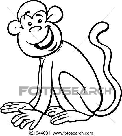 Clipart Of Funny Monkey Cartoon Coloring Page K21944081 Search