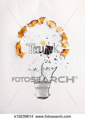 Hand Gezeichnet Glühbirne Wort Design Denken Mit Bleistift Säge Staub Auf Papier Hintergrund Als Kreativ Begriff Stock Illustration