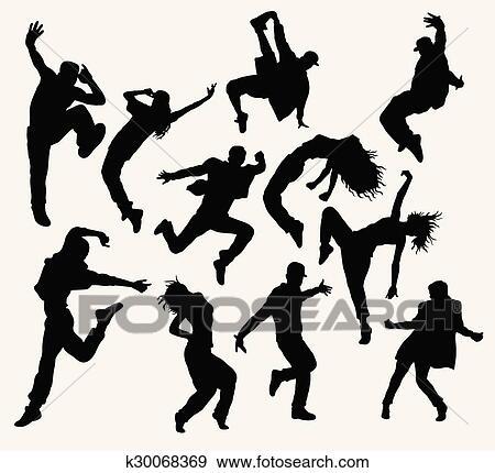Clip Art - hiphop, baile, siluetas k30068369 - Buscar Clip Art ...