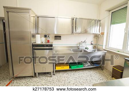Industrial Kitchen With Refrigerator Dishwasher And Sink