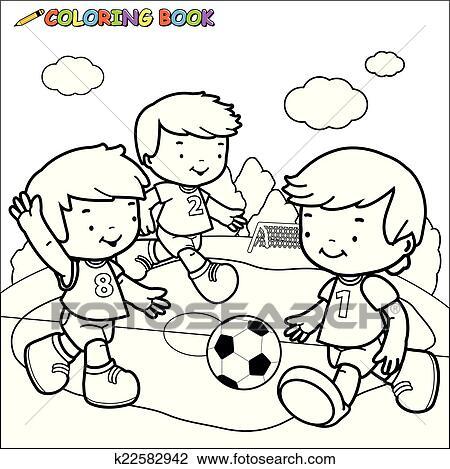 Clipart - libro colorear, futbol, kids. k22582942 - Buscar Clip Art ...