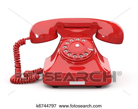 Stock Illustration Of Old Fashioned Phone On White Isolated