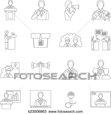 clipart of public speaking icons outline k23006863 search clip art