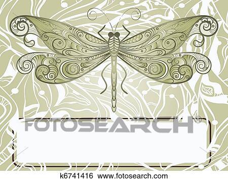 Clip Art - vector, mano, dibujado, hermoso, libélula, en, extracto ...