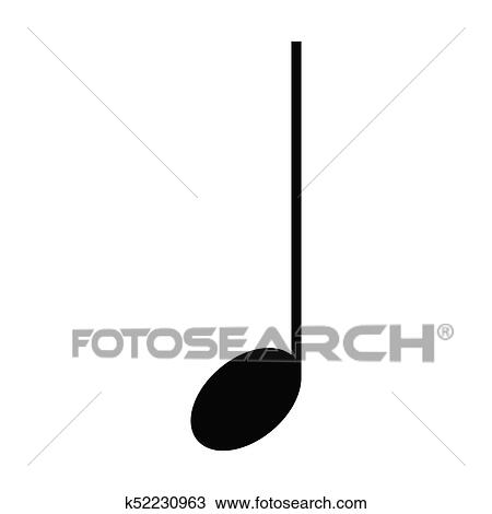 Aislado, nota musical Clipart