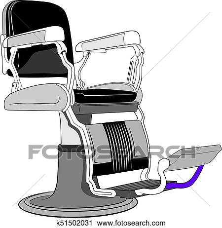 Illustration Of Leather Barber Chair In Old Style.