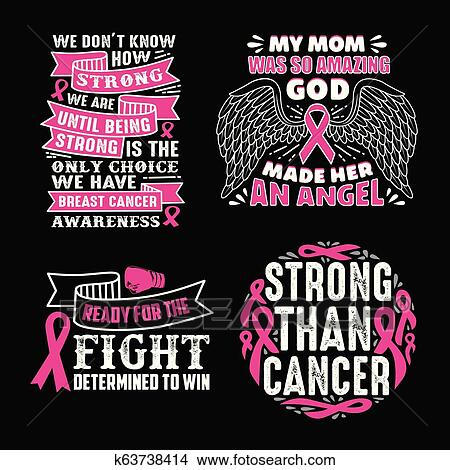 Breast Cancer Quotes Saying, 100 vector best for print design like t-shirt,  mug, frame and other Clipart