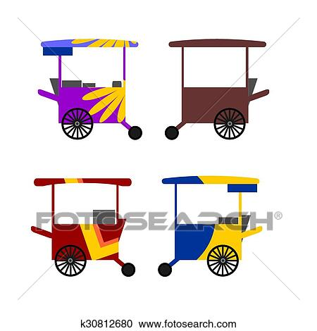 Colorful Asian street food carts Clipart | k30812680 ...