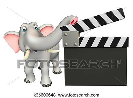 Divertimento elefante cartone animato carattere con ciak