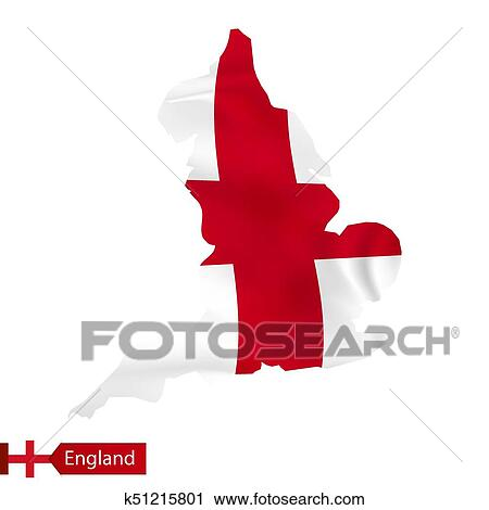 Clipart Of England Map With Waving Flag Of Country K51215801