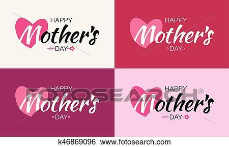 Clip Art Feliz Día Madres Vector Letras Conjunto Con Forma