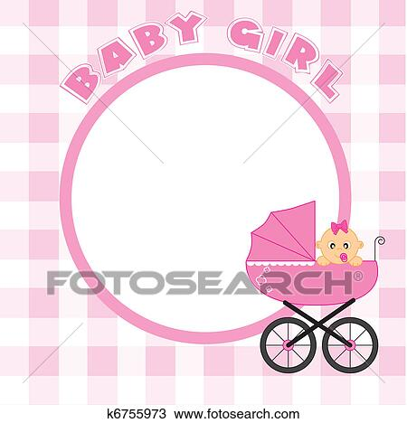 Clipart of Frame for baby girl k6755973 - Search Clip Art ...