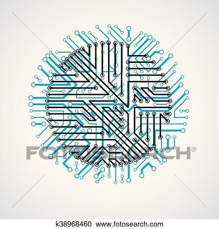 clipart of futuristic cybernetic scheme vector motherboard blue