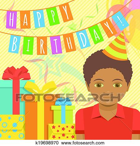 Clipart Of Happy Birthday Card For Boy K19698970 Search Clip Art