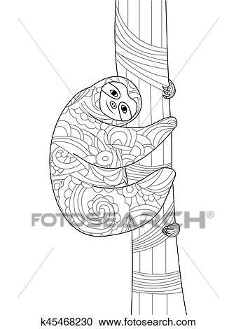 Clipart - perezoso, en un rama, libro colorear, vector, para ...