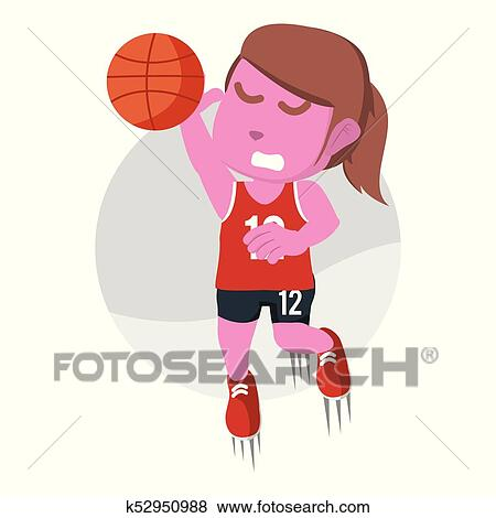 Pink female basketball player dunking Clip Art