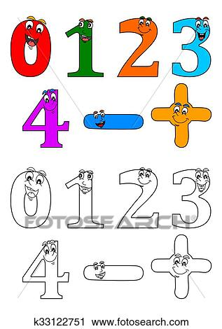 Clipart - sonriente, números, como, libros para colorear, para ...