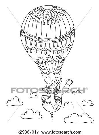 Strichzeichnung Abbildung Von Zirkus Thema Clown In A Ballon Clip Art