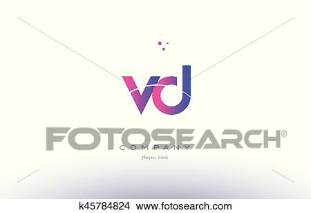 Clipart Of Vd V D Pink Modern Creative Alphabet Letter Logo Icon