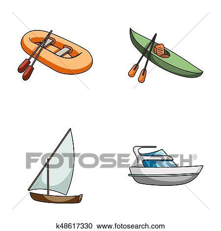 A Caoutchouc Bateau Peche A Kayak A Avirons A Peche Goelette A Moteur Yacht Bateaux Et Transport Eau Ensemble Collection Icones Dans Dessin Anime Style Raster Bitmap Symbole Illustration Courante Web Clipart