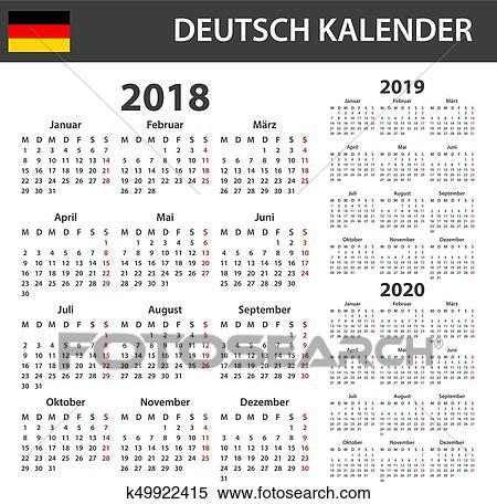 Calendrier Allemand 2020.Allemand Calendrier Pour 2018 2019 Et 2020 Programmateur Ordre Du Jour Ou Agenda Template Semaine Debuts Sur Lundi Clipart