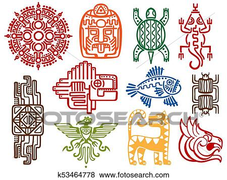Clip Art Of Colorful Ancient Mexican Vector Mythology Symbols
