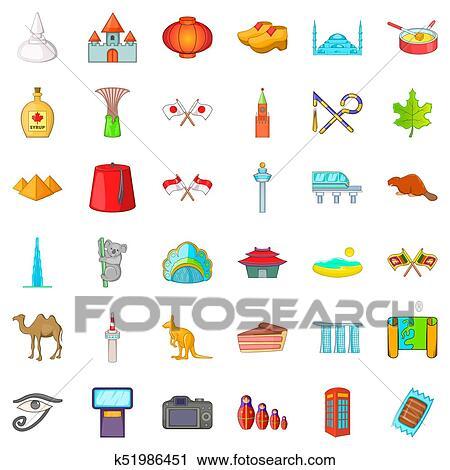 Country landmark icons set, cartoon style Clip Art ...