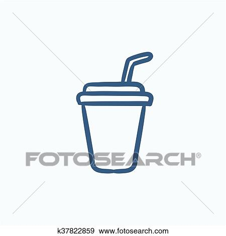 Clip Art Disposable Cup With Drinking Straw Sketch Icon Fotosearch Search Clipart