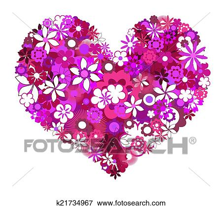 Colección De Ilustraciones Flores Violetas Forma Corazón