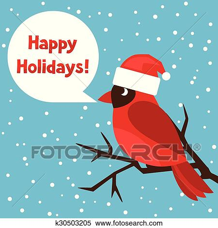 Clipart of Happy holidays greeting card with bird red cardinal ...