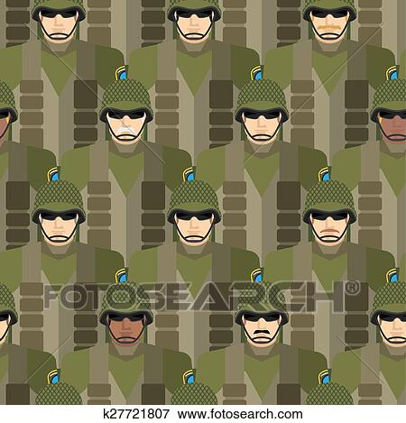 Marines seamless pattern  Soldiers in helmets and bullet-proof vests   Military people vector illustration  US Army  Clip Art
