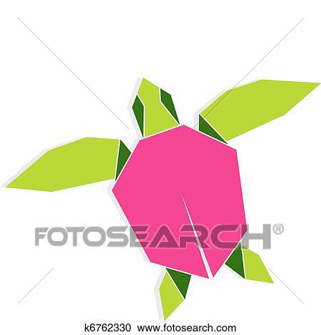 Single Multicolored Origami Turtle Illustration Vector File Also Available
