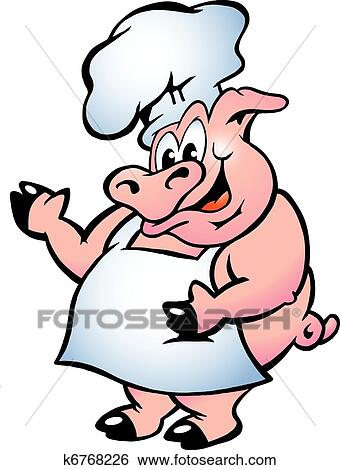 clip art of pig chef wearing apron k6768226 search clipart rh fotosearch com BBQ Pig Chef Clip Art Chef Pig Drawings