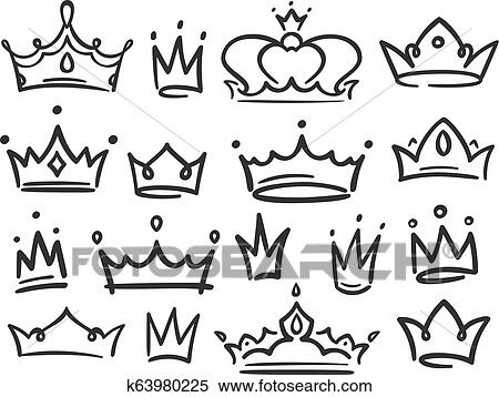 Sketch crown  Simple graffiti crowning, elegant queen or king crowns hand  drawn vector illustration Clipart