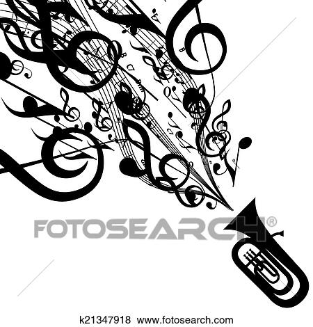 Clip Art Of Vector Silhouette Of Tuba With Musical Symbols K21347918