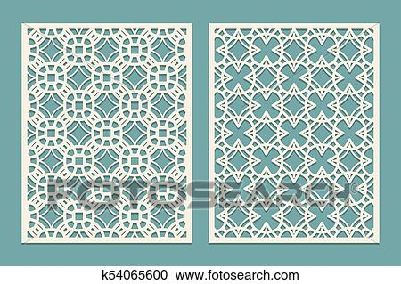 Wurfel Laserschnitt Tafel Design Mit Geometrische Formen Figuren Schablone Fur Schneiden Papier Holz Plastik In Orientalische Style Vektor Illustration Clipart K54065600 Fotosearch