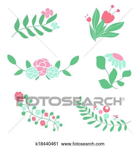 セット の かわいい 花 花束 そして Wreaths クリップアート