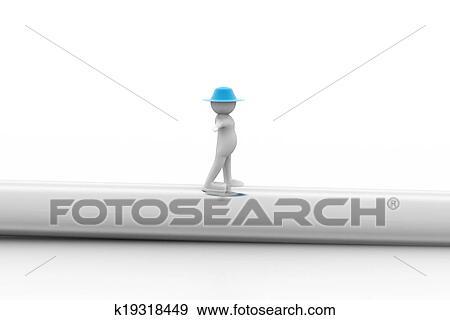 Colección de ilustraciones - 3d, hombre caminar, en, un, tubo ...